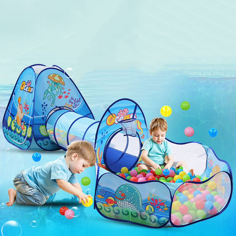 3 Pcs / Set Children's Tent Portable Kids Tents Children Ball Pool Ball Pit Crawling Tunnel Baby Play House Folding Outdoor Toys