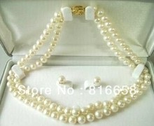 hot Free shipping@@true 7-8mm White Pearl Necklace Earring Set (A0423)(China)