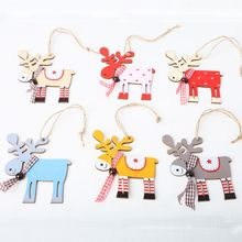 10pcs Colorful Wooden Deer Star Pendants Christmas Tree Hanging Ornament Home Holiday Party Decor DIY Crafts