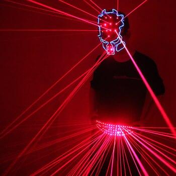 Red Laser Belt Mask LED Glowing girdle dj Disco Dance Clothing Ballroom Singer Disco Laser Man vest suit
