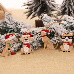New Year Natural Wood Christmas Tree Ornament Creative Animal Christmas Party Pendant Car Decorations Pendant for Home 2019 3