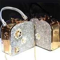 Crystal Totes Women Luxury Shoulder Box Bag Flower Handbag Bride Wedding Chain Bags Genuine Leather Rhinestone Evening Party Bag