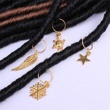 10Pcs/Set Golden Charms Hair Braid Dread Dreadlock Beads Cli