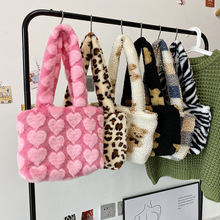Fashion Leopard Zebra Pattern Plush Women Shoulder Bag Faux Fur Handbag and Purse Designer Animal Pattern Tote Purse Clutch INS