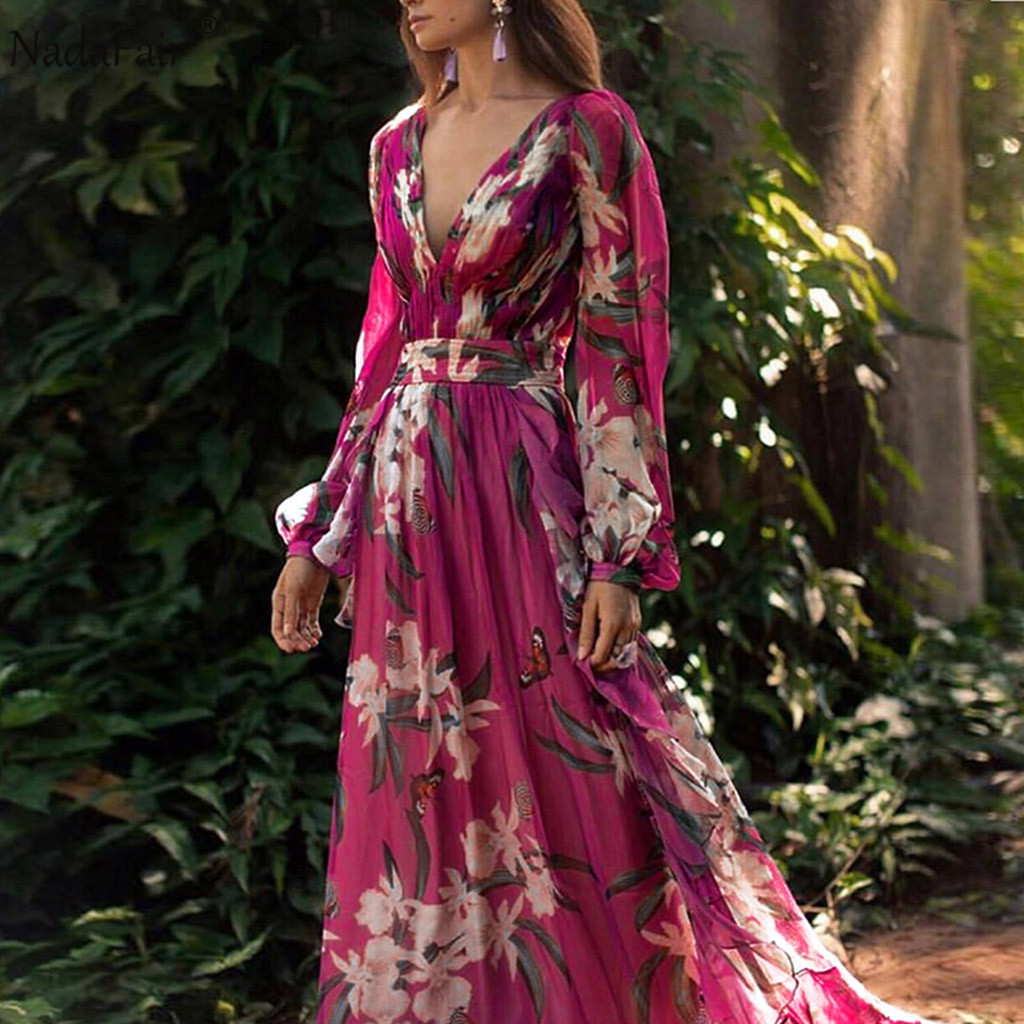 Nadafair Beach Boho Woman Maxi Dress Party Elegant Purple Plus Size Sexy V Neck Long Floral Print Chiffon Summer Dresses Woman