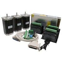 CNC Router 3 Axis kit, 3pcs DM542 stepper motor driver +nema 23 stepper motor 57x100mm 2.5Nm+1 breakout board+ power supply
