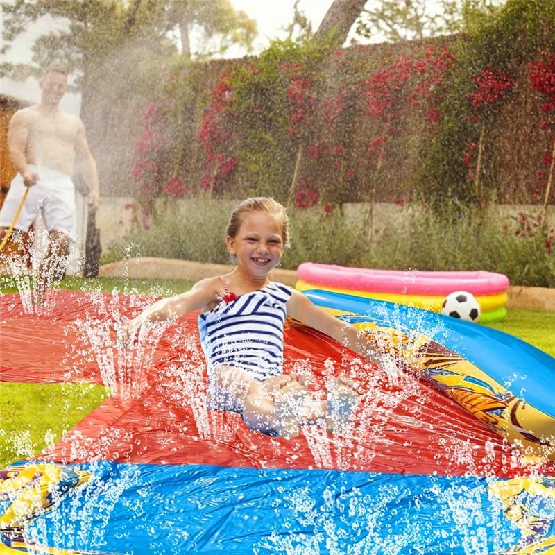Ground Surfing Double Water Slide Inflatable Play Center Slide For Children Summer Backyard Swimming Pool Games Piscine hors sol