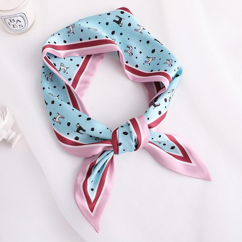 2020 Fashion Animal Print Women Silk Scarf Small Handle Bag Ribbons Female hair Scarves Foulard 90*10cm