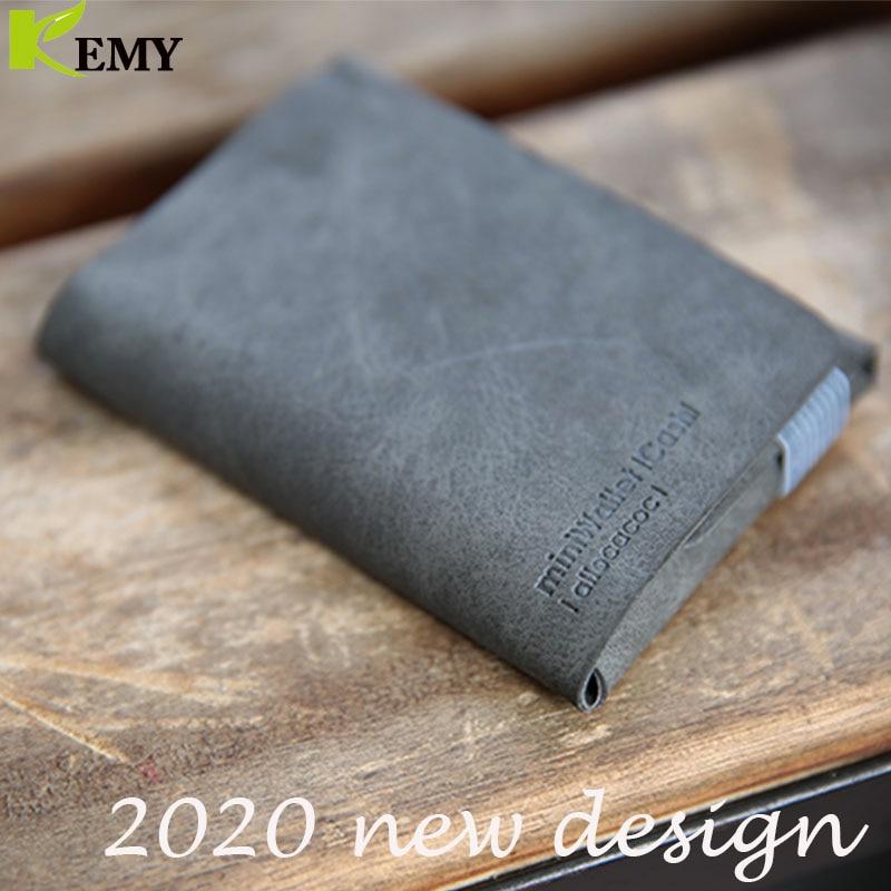 KEMY2020 DesignNest Vintage Crazy Horse Leather Men's Coin Purse Genuine Zipper Coin Mini Wallet Retro  Holder Small Money Bag