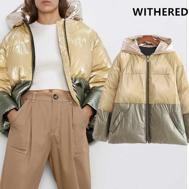 Withered winter parka coat women england high street vintage oversize satin patchwork Color collision hooded thick bread coat