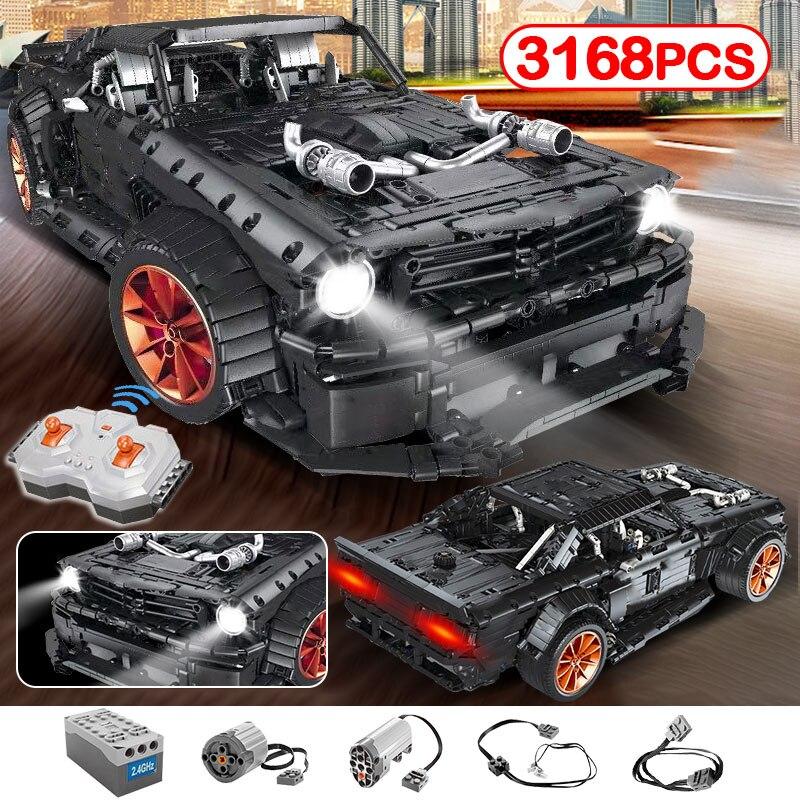 3168 stücke RC Ford Mustang Hoonicorn RTR V2 legoningly Technik Racing Auto led licht MOC modell baustein ziegel spielzeug für kinder