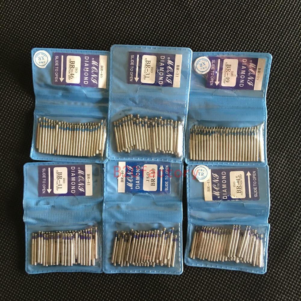 50pcs/bag BR Series Ball Round Dental Diamond Drill Dental Burs Dia-burs For High Speed Dental Handpiece