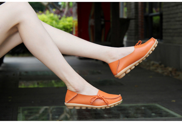 AH 911-2019 Spring Autumn Genuine Leather Women Loafers Walking Mother Flats-9