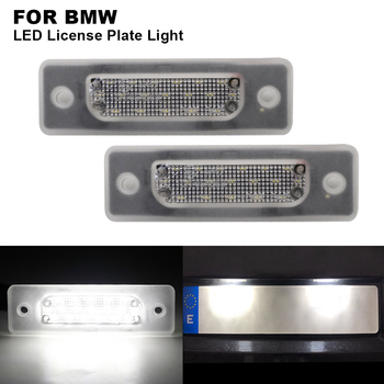 2 pieces Car Clear Canbus Auto LED License Number Plate Light Tail Light White LED Bulbs For BMW E34 M5 1988-1996 E32 1986-1994 image