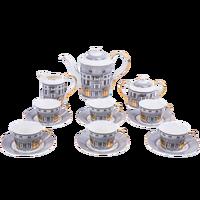 Ev ve Bahçe'ten Kahve Takımları'de Yüksek kaliteli Coffeware setleri kemik çini kahve fincanı demlik süt şeker kavanozu çay bardağı Set kale kahve fincanı
