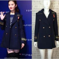 Women Double Breasted Navy Blue Military Style Wool Overcoat Beige Women Basic coats Winter England Winter Jacket Female Outwear