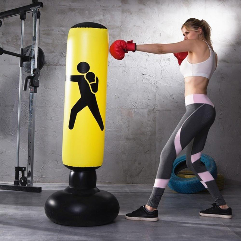 Training Fitness Vertical Inflatable Boxing Bag PVC Thickening Boxing Pillar Tumbler Fight Column Punching Bag Fitness Tool