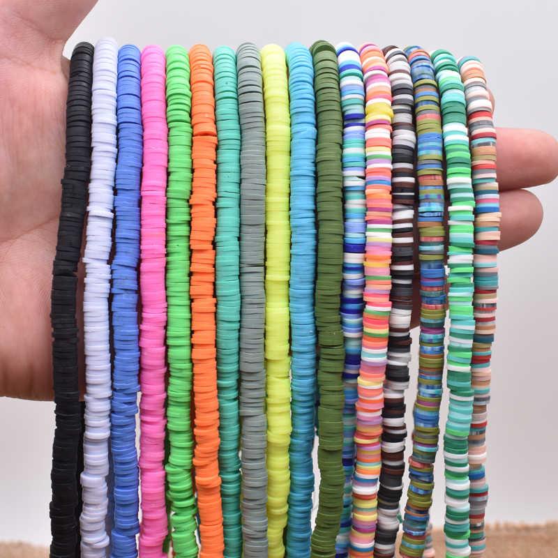 6 มม.แบน Polymer Clay ลูกปัด Disk หลวม Spacer Handmade ลูกปัดสำหรับเครื่องประดับ DIY ทำสร้อยข้อมือหาผสมสี