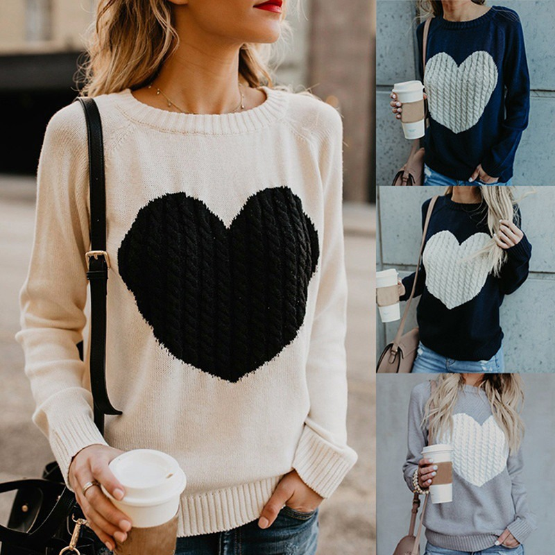 Autumn Winter Women Sweaters Heart Pattern Printed Long Sleeve Tops O-Neck Lovely Pullovers Knitted Loose Sweaters Tops 41