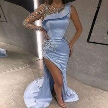 אופנה אחת כתף שמלת ערב ארוך שרוול שמיים כחול סאטן יהלומים סקסי סדק ערב שמלת בת ים קוטור תחרות שמלות