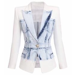 Alta calidad 2020 más nuevo diseñador Blazer mujer de un solo botón Denim Patchwork chaqueta Blazer