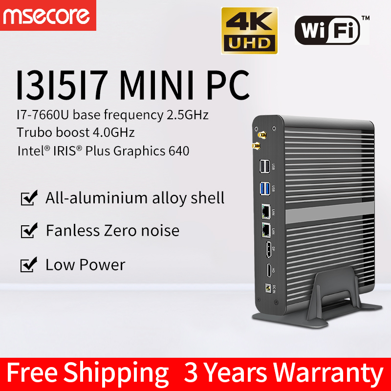 MSECORE I5 7260U Gaming Mini PC Windows 10 Desktop Computer Game Pc Industrial Pc Barebone Linux Intel HTPC DP HDMI 4K WIFI