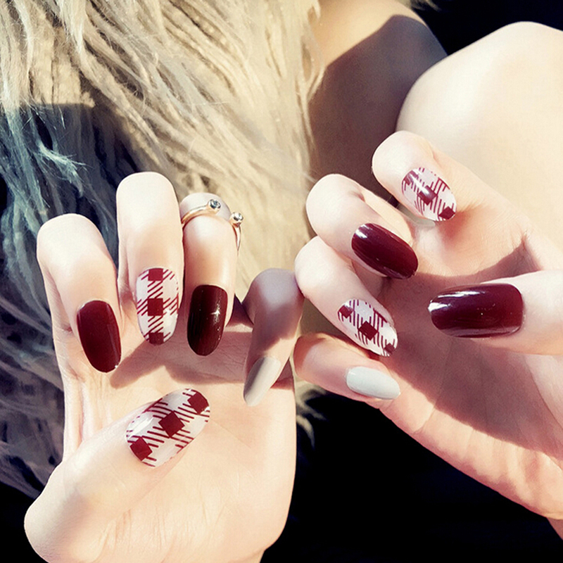 Useful 24PCS/set Full Nail Tips Patch DIY Art Tool Wine Red Finished False Nail Decoration Manicure Party Gift Beauty New