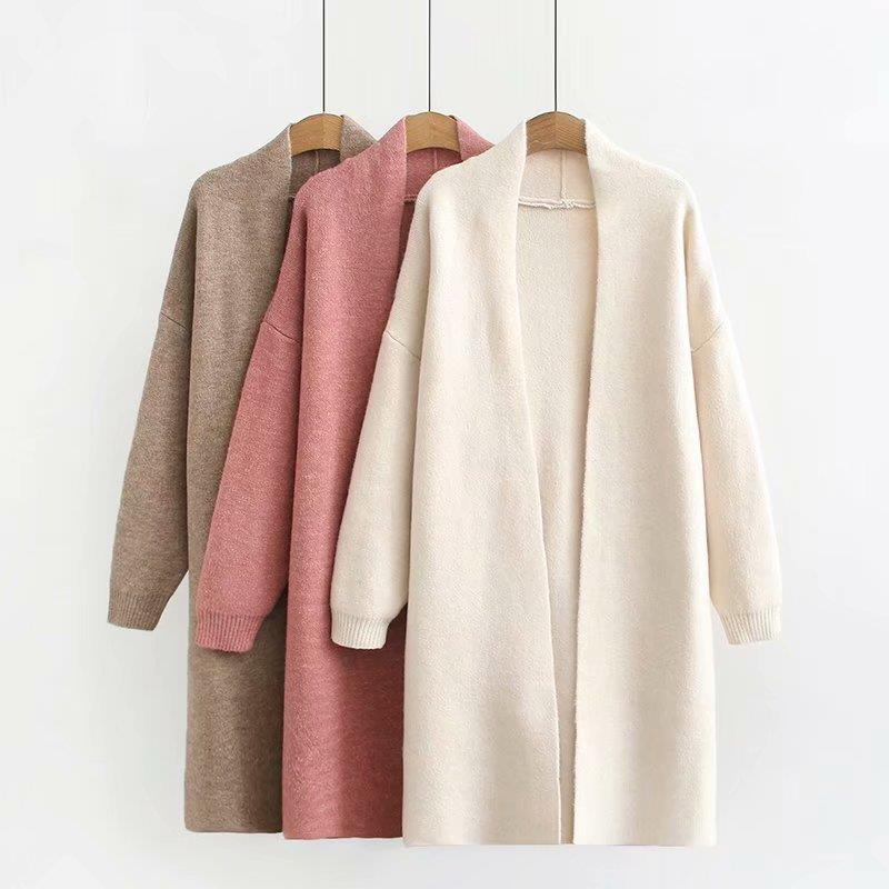 Elegant Women Cardigan Winter Sweater Loose Cardigan Oversized Soft Knitting Cardigan Batwing Sleeve Solid Long Sleeve Overcoat