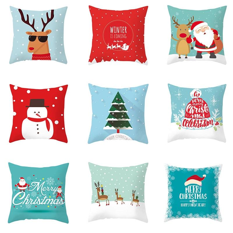 1pc 45x45cm Merry Christmas Cushion Cover Cartoon Xmas Santa Elk Snowman Home Sofa Seat Car Pillowcase Decoration