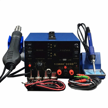 цена на SAIKE 909D++  Hot air gun soldering station Desoldering station DC regulated power supply 15V 2A 3 in1