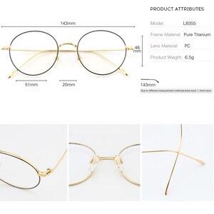 Image 3 - Saf titanyum gözlük çerçeve erkekler Vintage yuvarlak miyopi optik reçete gözlük çerçeveleri yeni kadın kadın Retro Oval gözlük