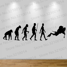 Scuba Diver Evolution Wall Sticker Decal Bedroom Art Diving Man Art Decor Home Decor Wall Decals living Wall Sticker PW434 cartoon chemist man wall sticker decal chemist sticker home bedroom decoration a00353