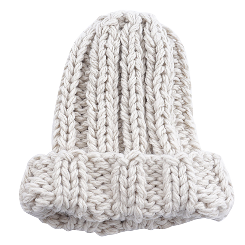 Casual Winter Knitted Hats For Women Fashion Keep Warm Manual Wool Knitted Earmuffs Soft Hats Girls Caps