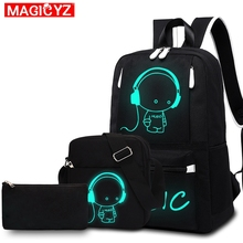 Men 's Backpack USB Charge Notebook Backpack Boy Student Luminous school bag Oxford cloth short trip travel Shoulder Bag set