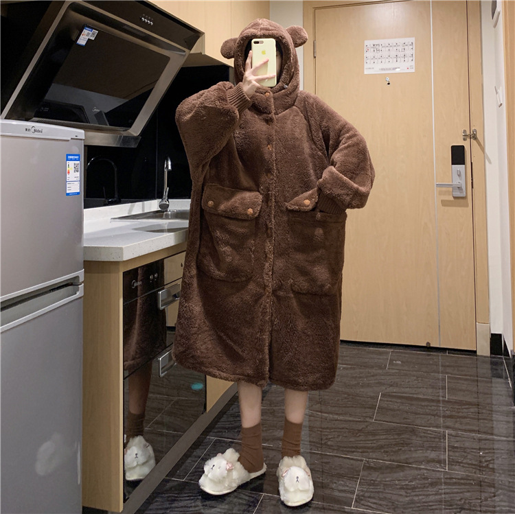sleepwear feminino com grandes bolsos casual inverno