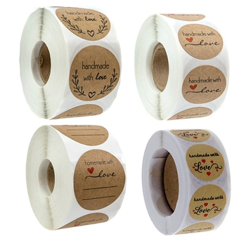 Handmade with Love Stickers 500-Count  1  Seal Label Tag Kraft Paper Heart Sticker for Craft Gift Wedding Favor Event Business brown benjamin thompson count rumford paper