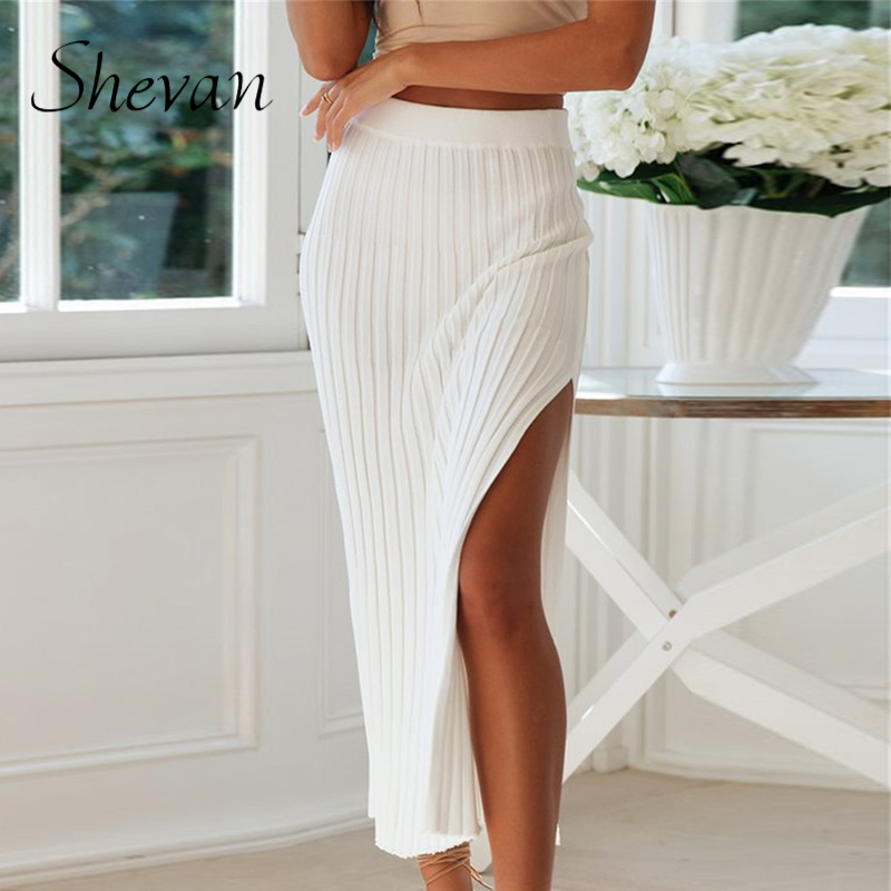 Shevan Knit Midi Skirts Womens Winter 2020 High Waist Elegant Lady Solid White Slit Sexy Knitted Pencil Skirt