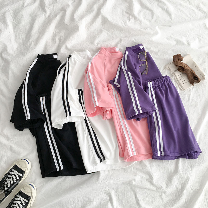 Summer Cotton Tracksuit For Women Short Sleeve T Shirt Two Piece Shorts Set Female 2020 Casual Striped Sport 2 Piece Sets Ladies