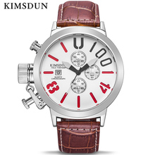KIMSDUN Mens Watches Top Brand Luxury Quartz Sport Watch Men Fashion Waterproof Leather Stop Complete Calendar Wristwatch