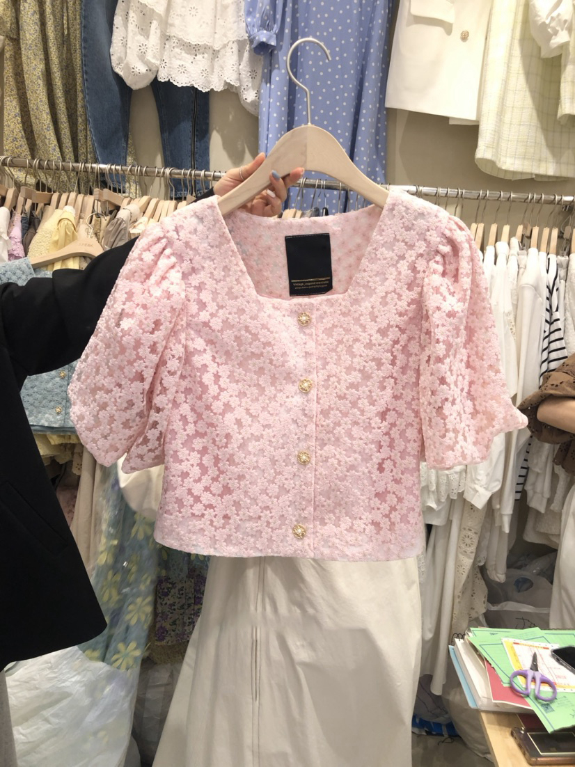 2021 summer new style solid color buttoned puff sleeve square neck all-match lace shirt shirt female trend