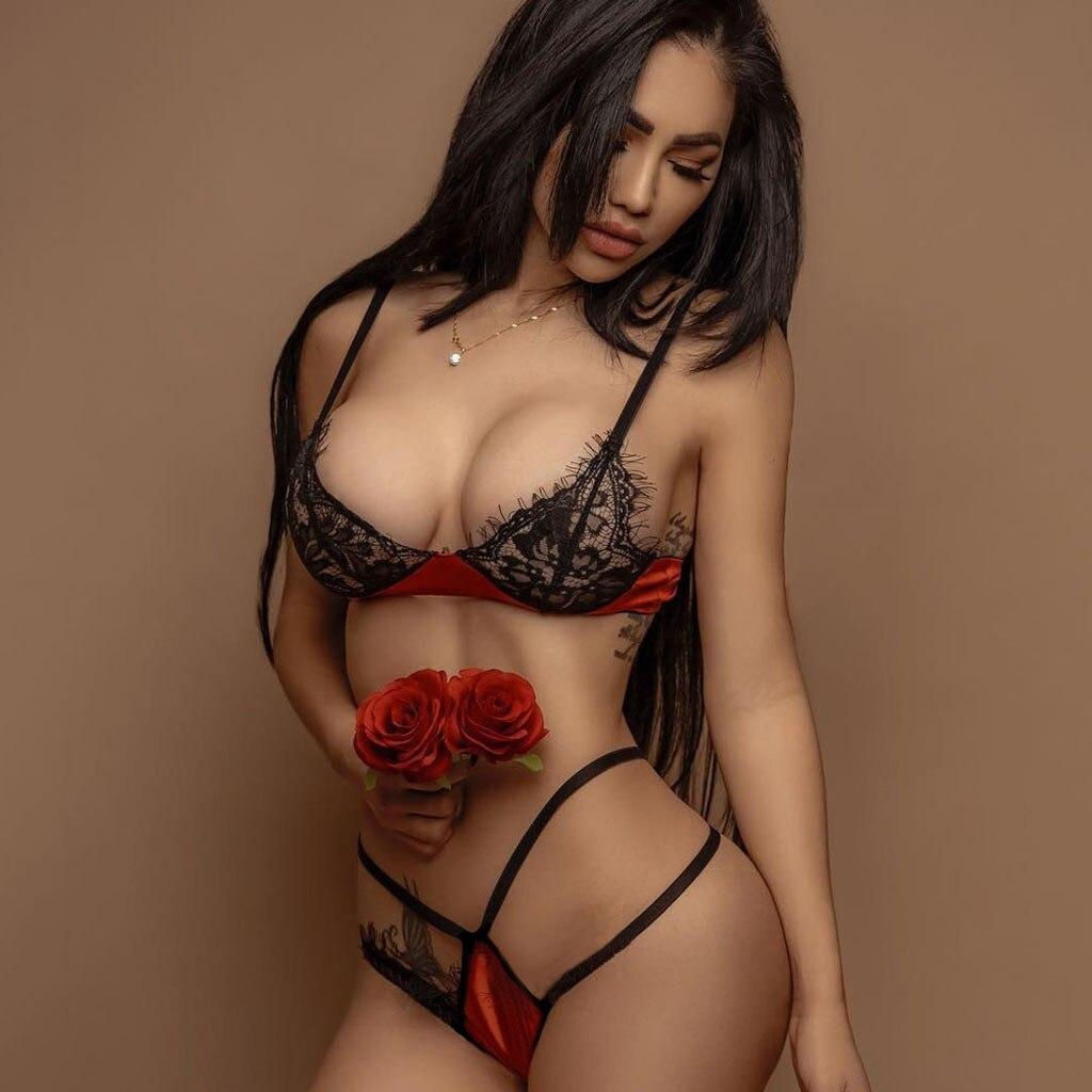 Women Sexy Lingerie Erotic Underwear Sets Lace Babydoll Bra G-String Langerie Nightwear Hollow Out Sex Bra Porno Corset Costumes