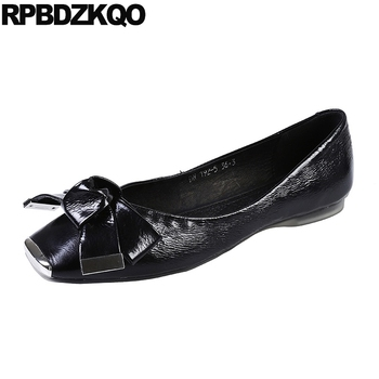 black bow ladies flats casual slip on rubber sole women square toe 2019 brand spring autumn chinese designer shoes china italian