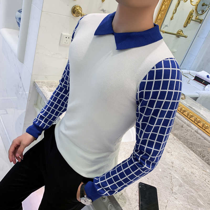 Fake Two Pieces Mens Pullover Sweaters British Style Polo Lead Rendering Knitting Unlined Upper Garment Lattice Self-cultivation