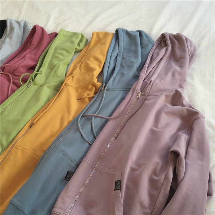 H82e7c11bb2044272a2d4ed0c5903a19fD Harajuku with hat hoodies women zipper kangaroo pocket casual loose solid color sweatshirt female 2020 fashion new female s