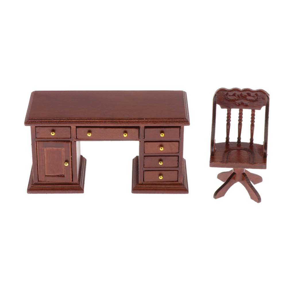 1//12 Dollhouse Miniature Office Furniture Wooden Desk and Chair Set Brown
