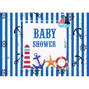 Image 2 - Allenjoy navy backdrop Birthday party sea theme newborn baby shower blue stripes Anchor Photophone Background for photocall