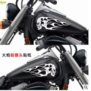 Five colors Car Rearview Mirror Sticker Motorcycle Universal Fuel Tank Flame Totem Modified Skull