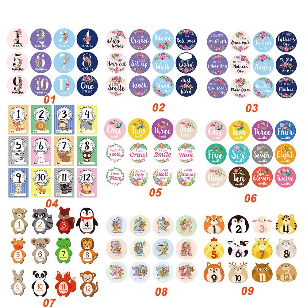 12pcs/Set Baby Photo Milestone Card Newborn Monthly Commemorative Stickers  Baby Monthly Photo Milestone Cards