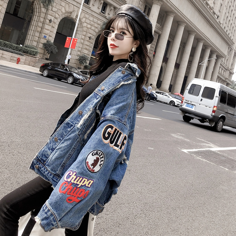 New Oversize Jeans Jacket Women 2020 Autumn Streetwear Loose Patch Designs Denim Jacket Coat Long Sleeve Female Ladies Outwear
