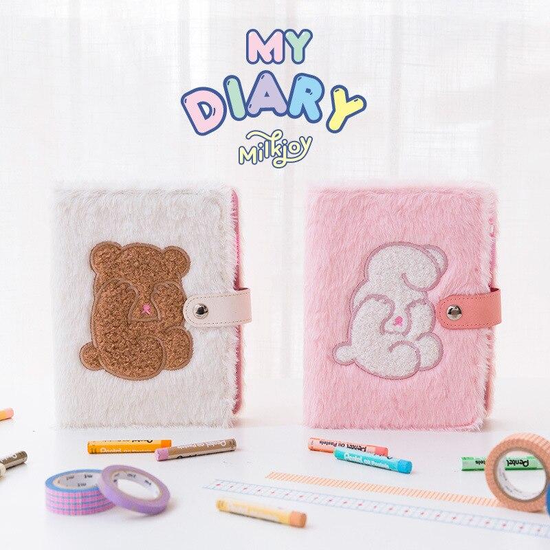 Kawaii Bear A6 Notebook Plush Cover Planner Organizer Creative Note Book Dividers Spiral Travel Diary Journal Handbook for Girls